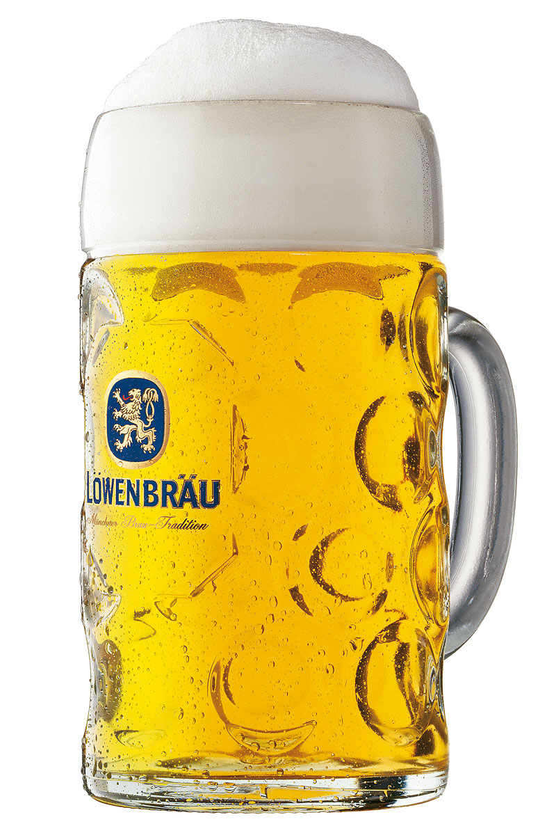 Engraved Personalised Lowenbrau Tall One Pint Beer Glass With Gift Box